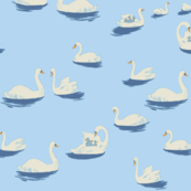 Heather Ross Swan Lake print in Light Blue - Spponflower